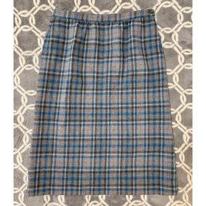 VTG PENDLETON Gray Blue Plaid A-Line Wool Skirt